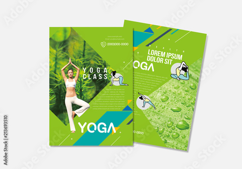 Yoga Flyer Layout With Green Accents Buy This Stock Template And
