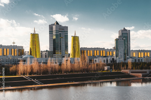 Poster Chicago Elevated panoramic city view over Astana in Kazakhstan with Golden Towers aka the Beer Cans and presidential building Ak Orda