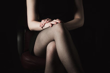 Sexy Women's Legs In Black Fis...