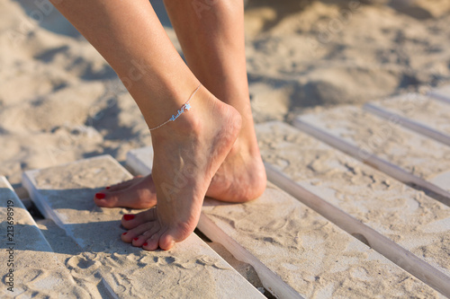 Woman wearing an anklet Canvas Print
