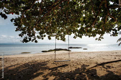 Foto op Canvas Strand Empty swing hanging on tree at beach against sky during sunny day
