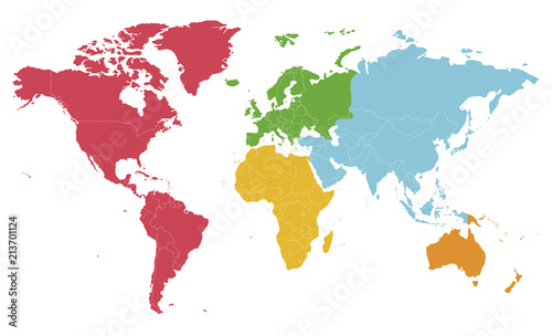Foto auf AluDibond Weltkarte Political blank World Map vector illustration with different colors for each continent and isolated on white background. Editable and clearly labeled layers.