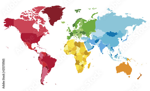 Political blank World Map vector illustration with different ...