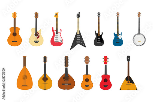 Vector illustration set of string instruments playing by plucking the strings Wallpaper Mural