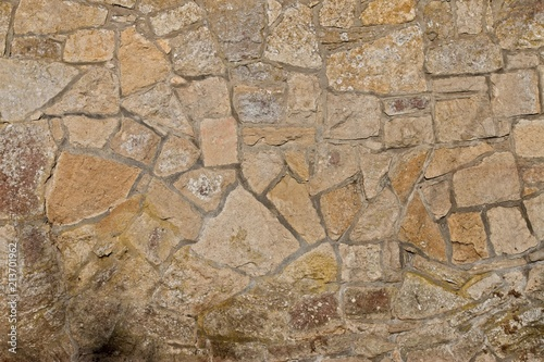 Photo sur Aluminium Vieux mur texturé sale Sandstone wall with moss in sunshine