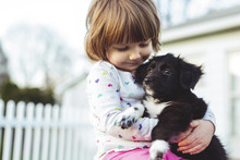 Low Angle View Of Girl Carrying Puppy While Standing At Yard