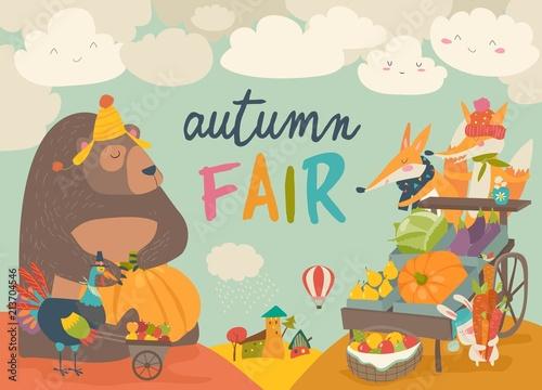 Cute animals on autumn fair