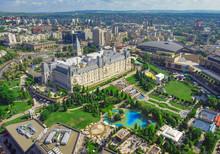Iasi City View Of Culture Palace. Aerial Scene, Romania