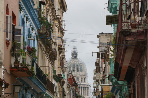 Poster Havana Havana, Cuba - 09 January, 2017: view of the central streets of Havana, Cuba. many buildings and historical places