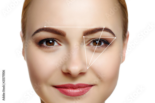 Closeup beauty portrait of a woman with geometric lines for eyebrows shape correction