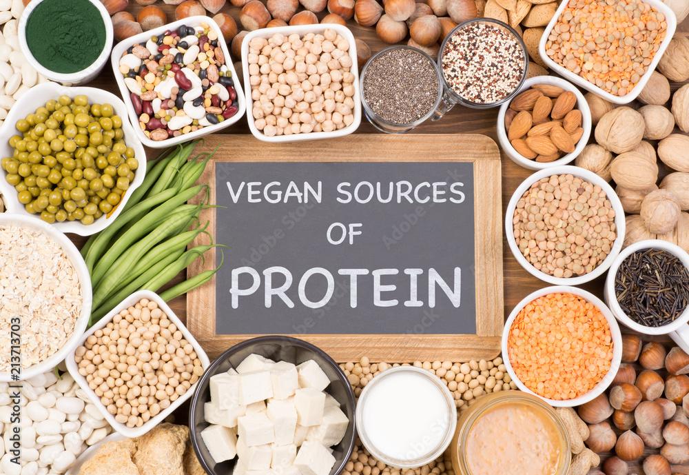 Fototapety, obrazy: Protein in vegan diet. Food sources of vegan protein