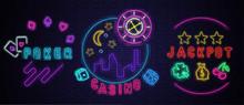Neon Luminous Casino, Jackpot, Poker Signs On Purple Bricklaying Wall.