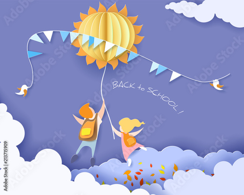 Obraz Back to school 1 september card with kids, leaves and sun on blue sky background. Vector illustration. Paper cut and craft style. - fototapety do salonu