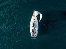 Aerial Photo Of Sailboat Yacht...