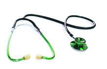 Green Stethoscope. Stethoscope Check Heart .Stethoscope Show Good Health And Caring Concept.