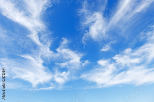 Beautiful blue sky over the sea with translucent, white, Cirrus clouds Fototapeta