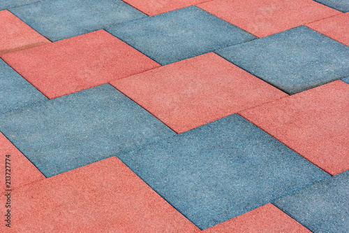 Tile of rubber crumbs on the playground. Square shape Fototapete