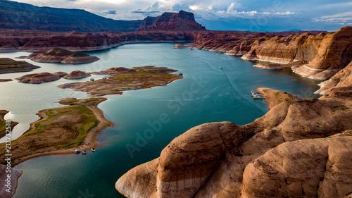 Fototapeta Aerial view of Lake Powell near Navjo Mountain, San Juan River in Glen Canyon wi