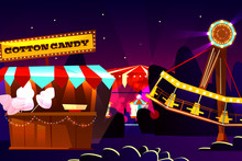 Funfair Or Fairground Cartoon Vector Illustration Of Amusement Park At Evening. Merry-go-round Carousel And Observation Wheel Rides, Cotton Candy Sweets Vendor Booth On Cartoon Flat Background