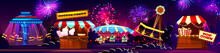 Vector Carnival Concept - Cotton Candy, Popcorn Shop, Carousels Isolated On Fireworks Background. Circus Entertainment, Travelling Festival With Illumination. Marquee With Tents, Amusement