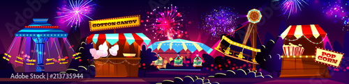 Vector carnival concept - cotton candy, popcorn shop, carousels isolated on fireworks background Fototapet