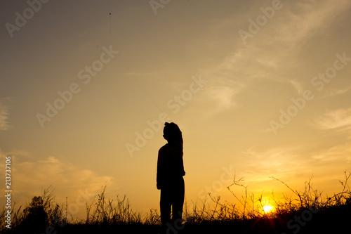 Fototapety, obrazy: Silhouette boy