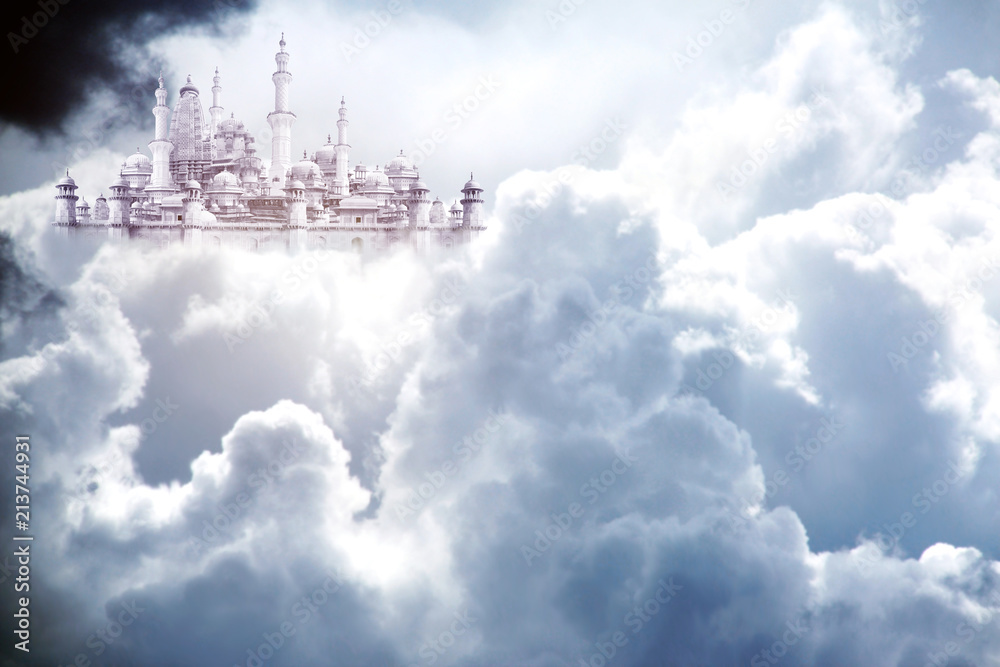 A fabulous lost city in beautiful sky with stormy cumulonimbus