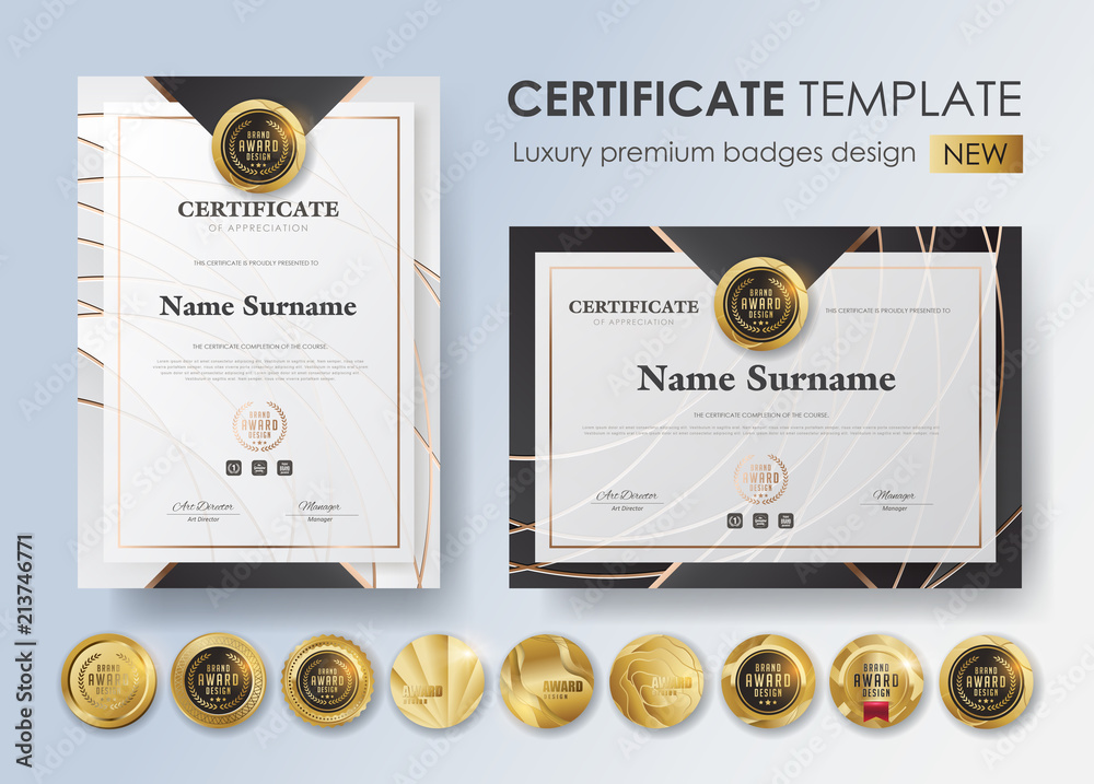 Fototapeta certificate template with luxury pattern,diploma,Vector illustration and vector Luxury premium badges design,Set of retro vintage badges and labels.