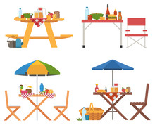 Picnic Table With Food Icons. Different Barbecue Tables And Chairs With Umbrella, Blanket, Fruits And Drinks. Outdoor Dining And Outing Collection.