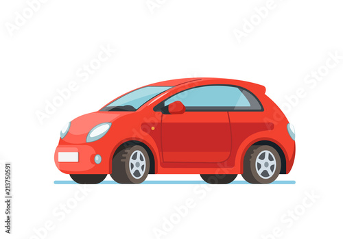 Papiers peints Cartoon voitures Vector flat illustration of a happy young woman driver sitting rides in his red car. Design concept of buy a new car