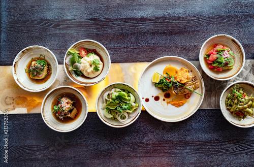 Fotobehang Assortiment set in the japanese restaurant