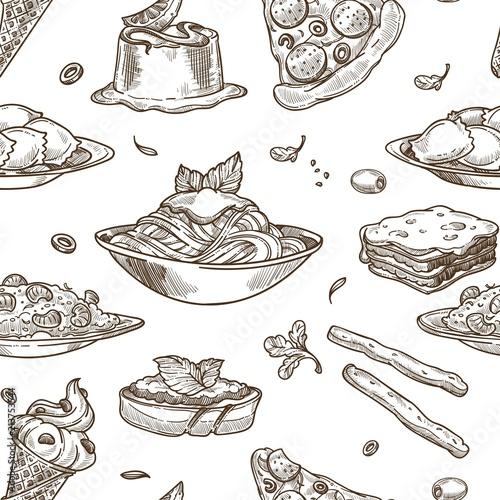 Cuadros en Lienzo Italian cuisine vector sketch seamless pattern