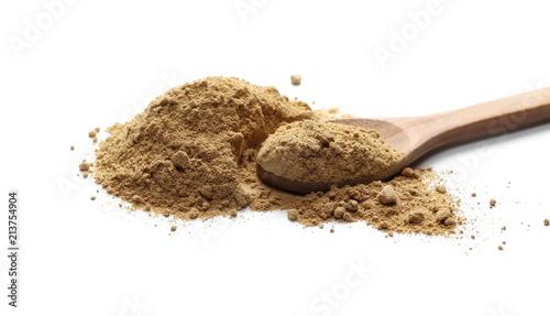 Deurstickers Aromatische Ginger powder in wooden spoon isolated on white background, (Zingiber officinale)