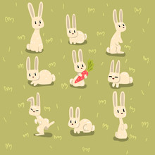 Flat Vector Set Of Small Bunny...