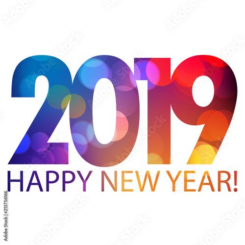 Obraz happy new year 2019 wektor - fototapety do salonu