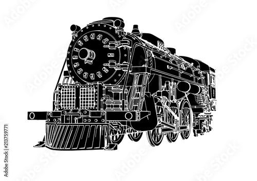 Obraz na płótnie silhouette retro steam engine vector
