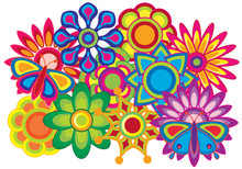 Butterfly And Flowers Colorful Abstract Vector Illustration