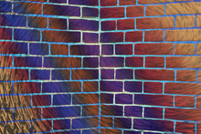 Hallucinogen Surreal Brick Wall. Varicolored Exotic Brown Fluorescent Uneven Wall. Haunted Imagination From Drugs And Alcohol. Geometric Background.
