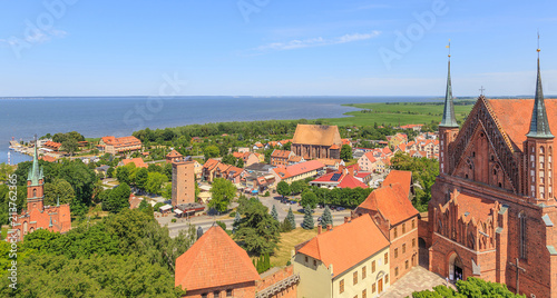 Frombork, view of city and Vistula bay from  cathedral belfry called Radziejowski tower © stepmar