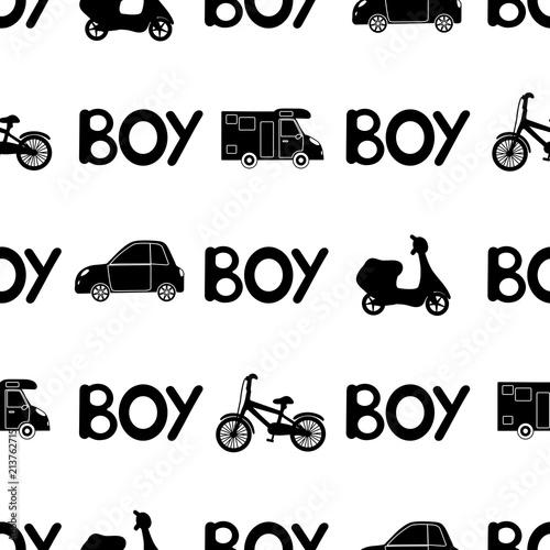 bezszwowy-wzor-z-czarnym-slowo-chlopiec-i-samochodem-motorower-bicykl