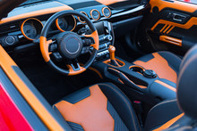 Sports Car Interior With Orang...