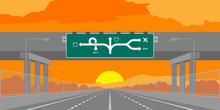 Road Underpass Highway Or Motorway And Green Signage In Surise, Sunset Time Illustration Isolated On Orange Sky Background