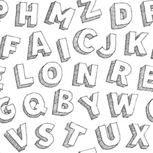 Seamless Typograhy Pattern With Hand Drawn Vector Alphabet Letters On White Background