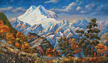 Autumn View Of The Two-headed Mountain Elbrus. Mountain Autumn Landscape In Bright And Juicy Tones. Picturesque Painting: Oil On Canvas. Author: Nikolay Sivenkov.