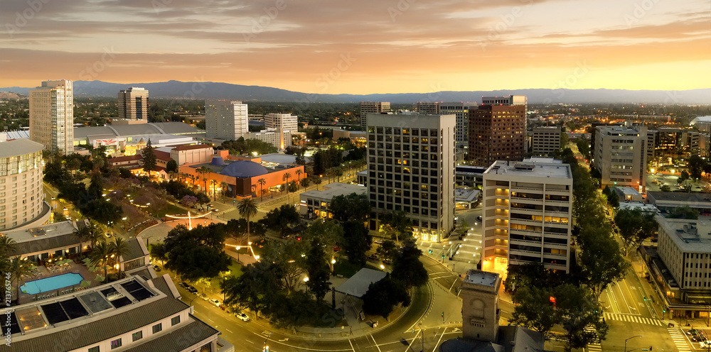Fototapety, obrazy: Panorama of San Jose California Downtown