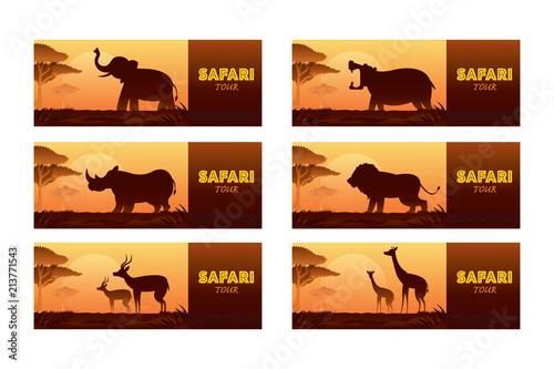Photo African Safari Animals Silhouette Banner