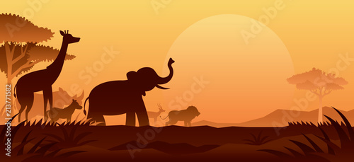 Fotografie, Obraz African Safari Animals Silhouette Background