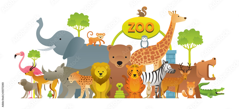 Fototapeta Group of Wild Animals, Zoo, Entrance Sign, Kids and Cute Cartoon Style