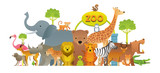 Fototapeta Fototapety na ścianę do pokoju dziecięcego - Group of Wild Animals, Zoo, Entrance Sign, Kids and Cute Cartoon Style