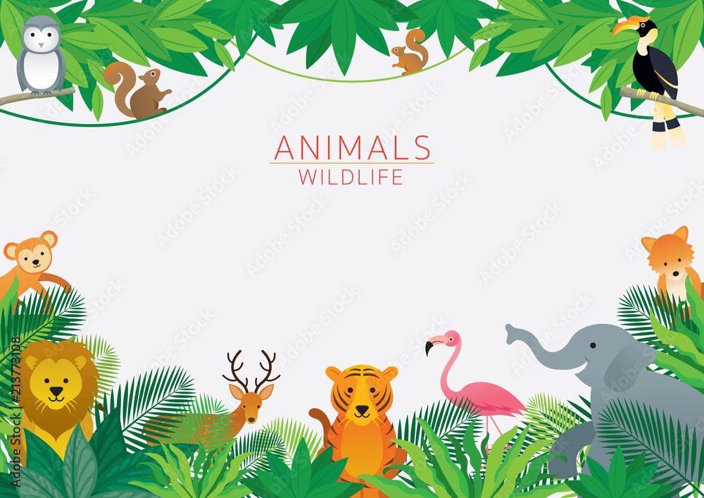 Fototapeta Wild Animals in Jungle, Frame, Kids and Cute Cartoon Style